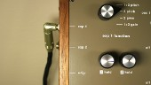 detail of top panel showing expression pedal input and switch